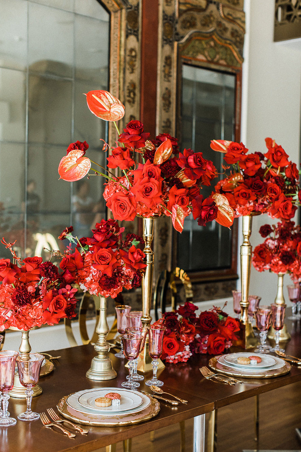 red and gold luxury wedding toronto cross cultural wedding toronto - asian fusion - indian and chinese wedding