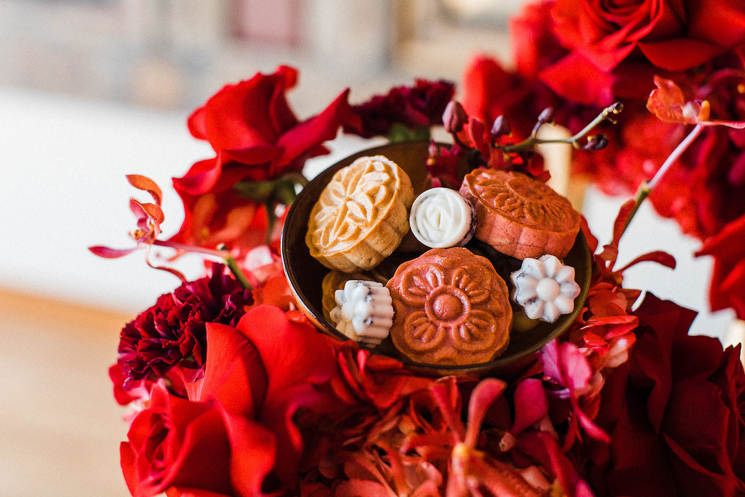 toronto moon cakes - on a bed of flowers