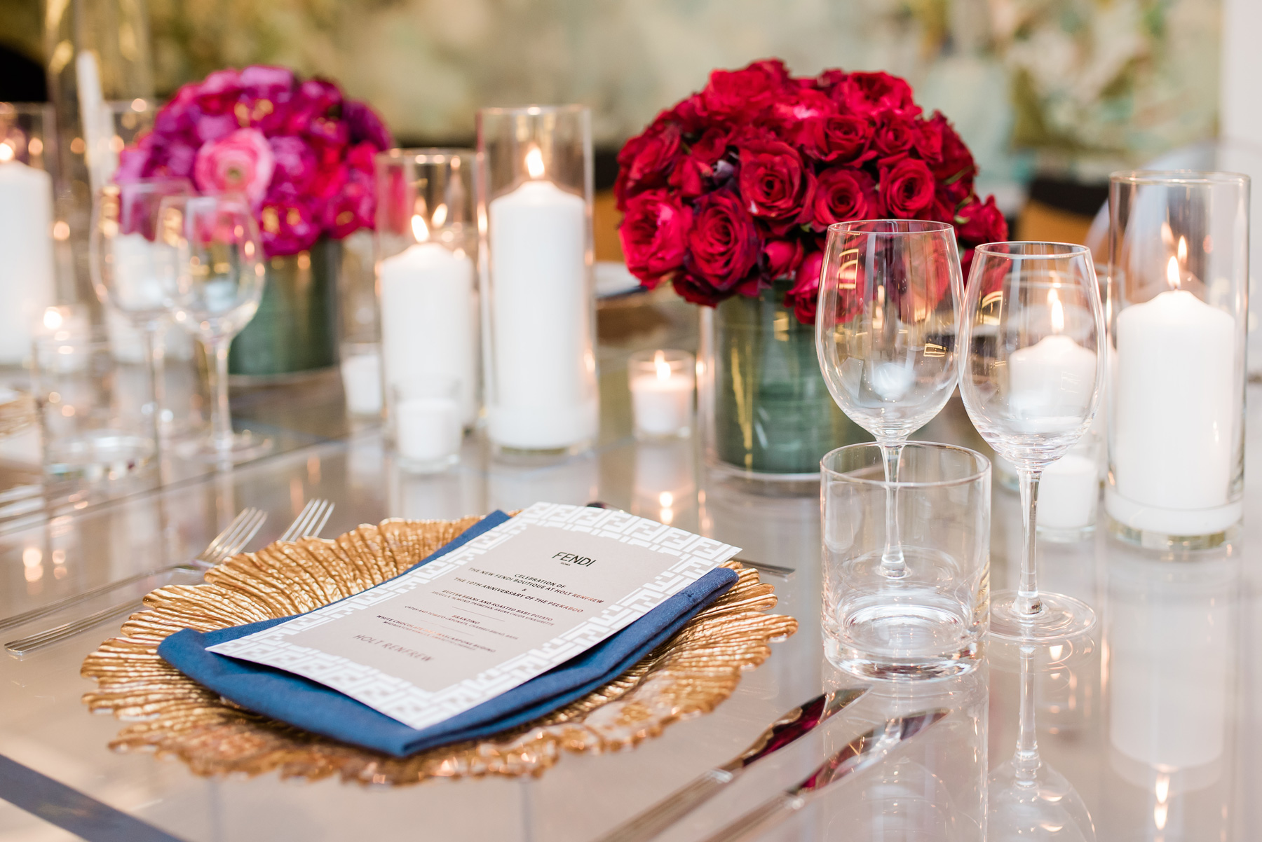 acrylic table top with vibrant monochromatic colors centerpieces
