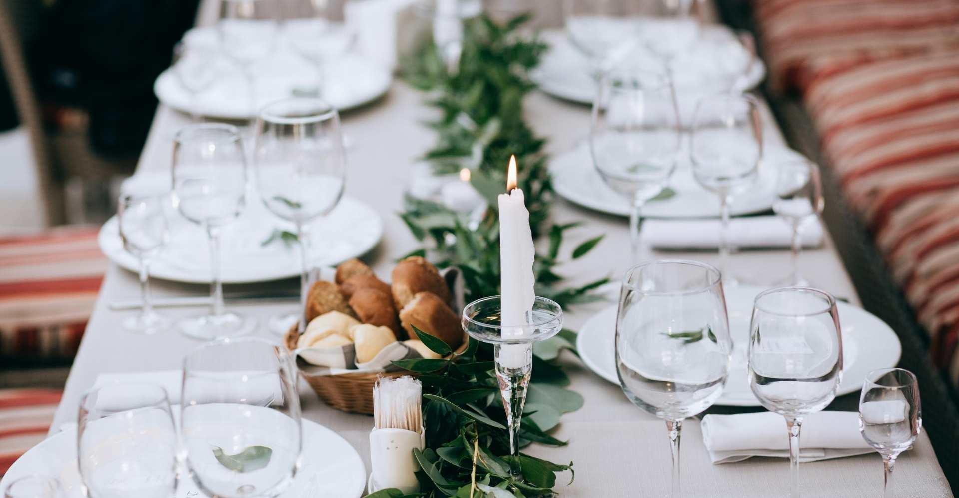 Modern Minimalist Wedding - centerpiece - greenery