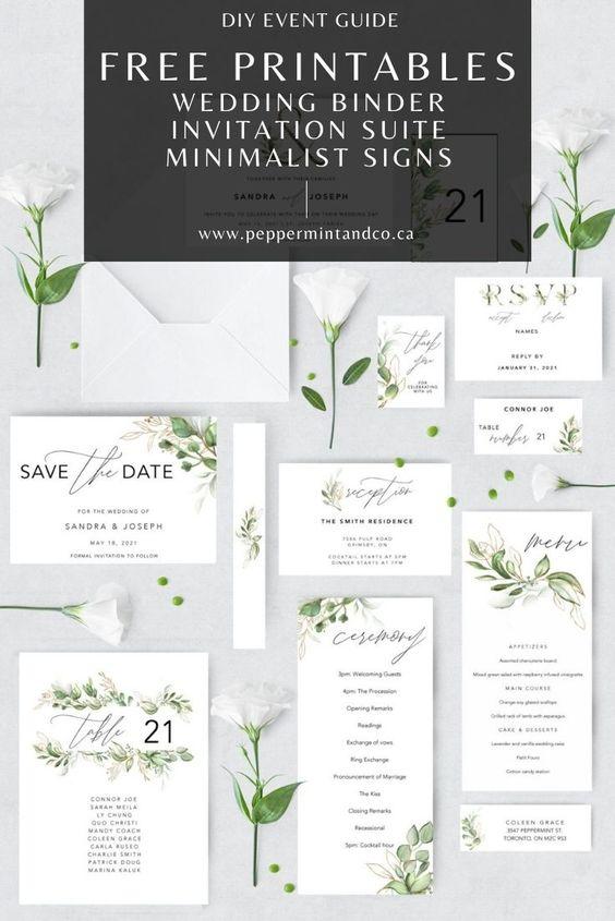 FREE WEDDING PRINTABLES: Planning Binder, Invitation Suite and Minimalist Signs