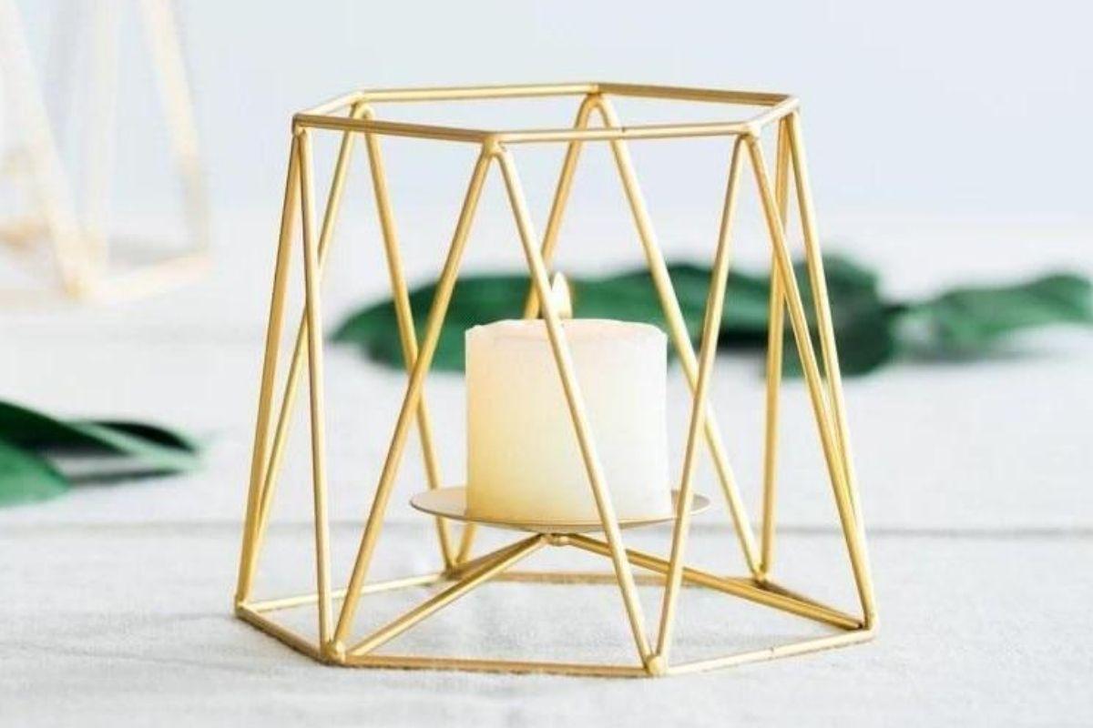 Modern Minimalist Wedding - gold geometric candle holders