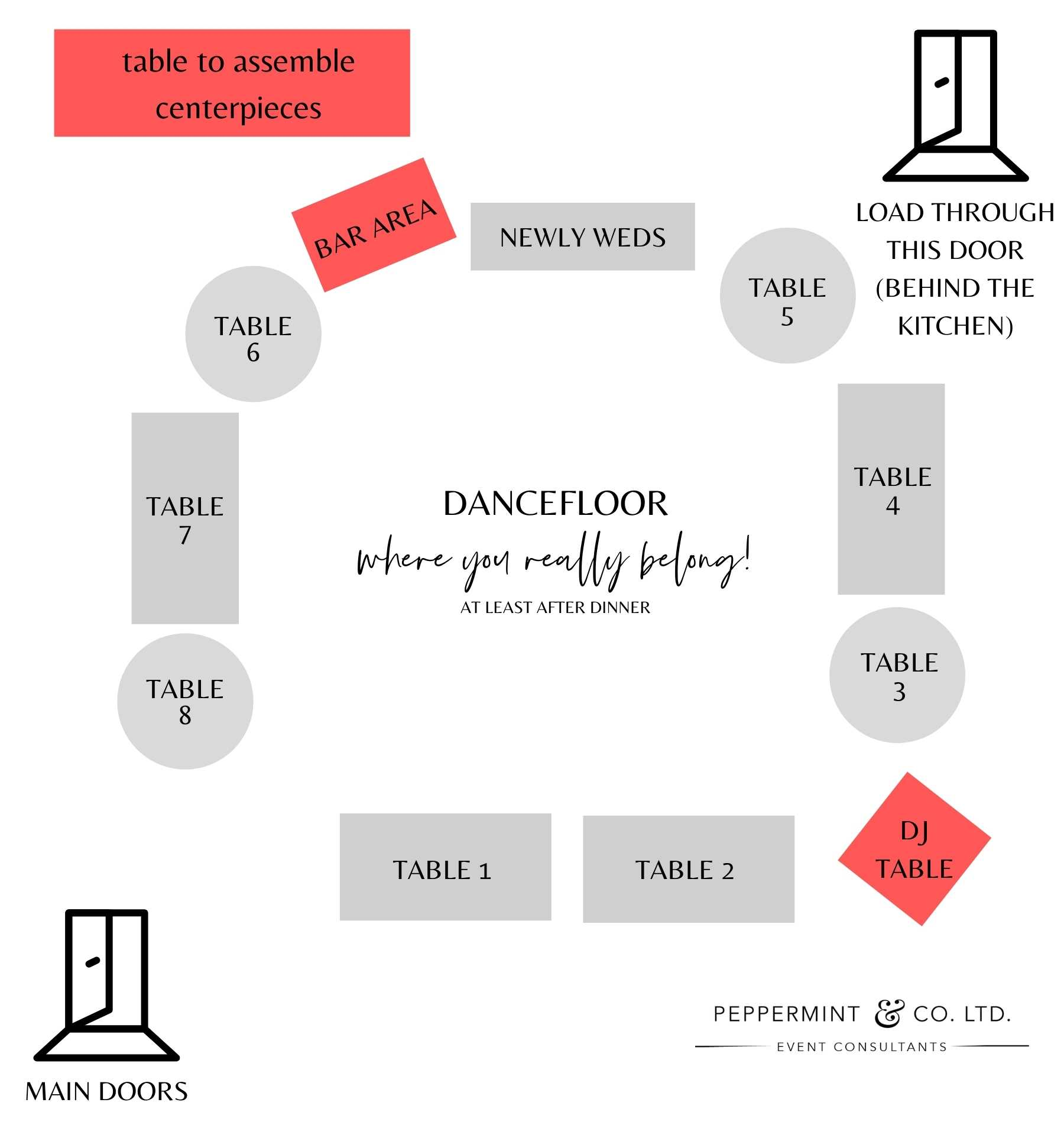 Tips for a DIY wedding - map and floor plan