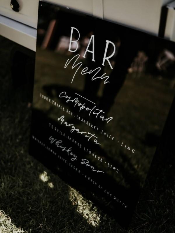 Beautiful Wedding Bar Signs = black and white acrylic