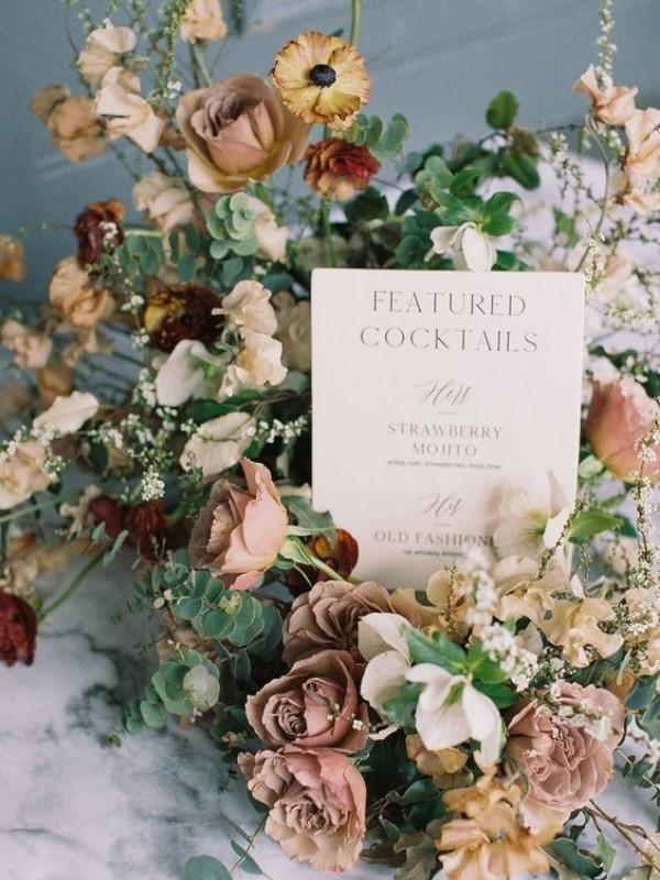 Beautiful Wedding Bar Signs - lush blooms