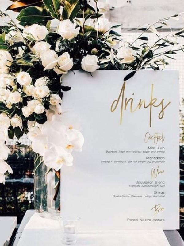 Beautiful Wedding Bar Signs - classic gold foil detail