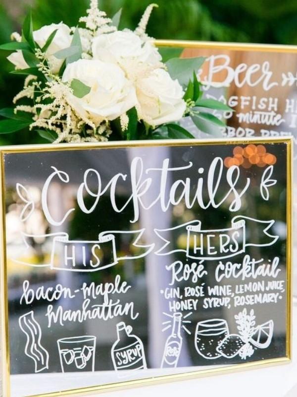 Beautiful Wedding Bar Signs - mirror