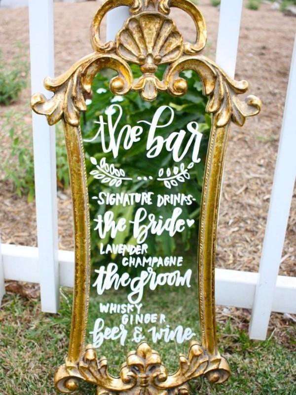 Beautiful Wedding Bar Signs - large mirror calligraphy