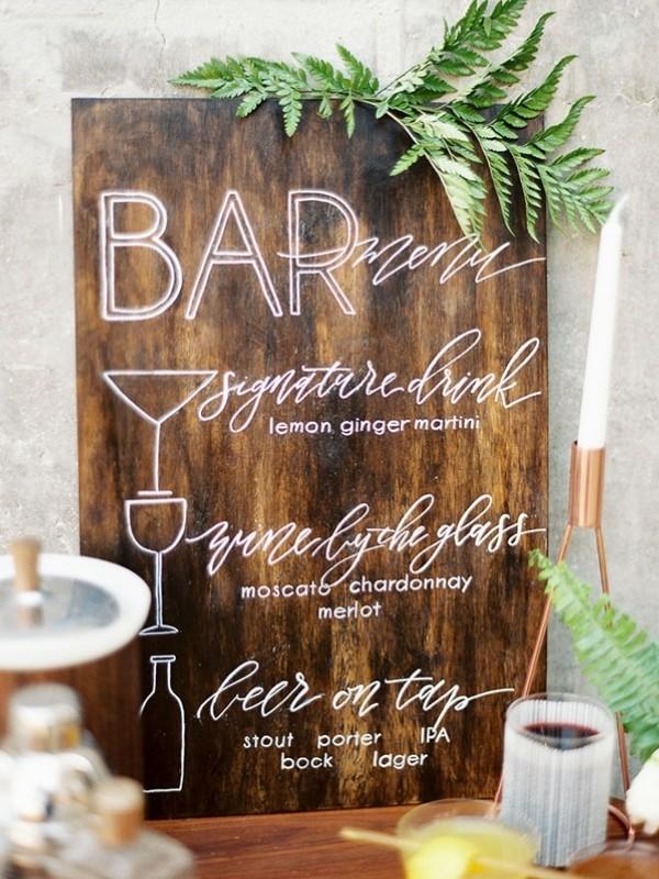 Beautiful Wedding Bar Signs - wooden sign