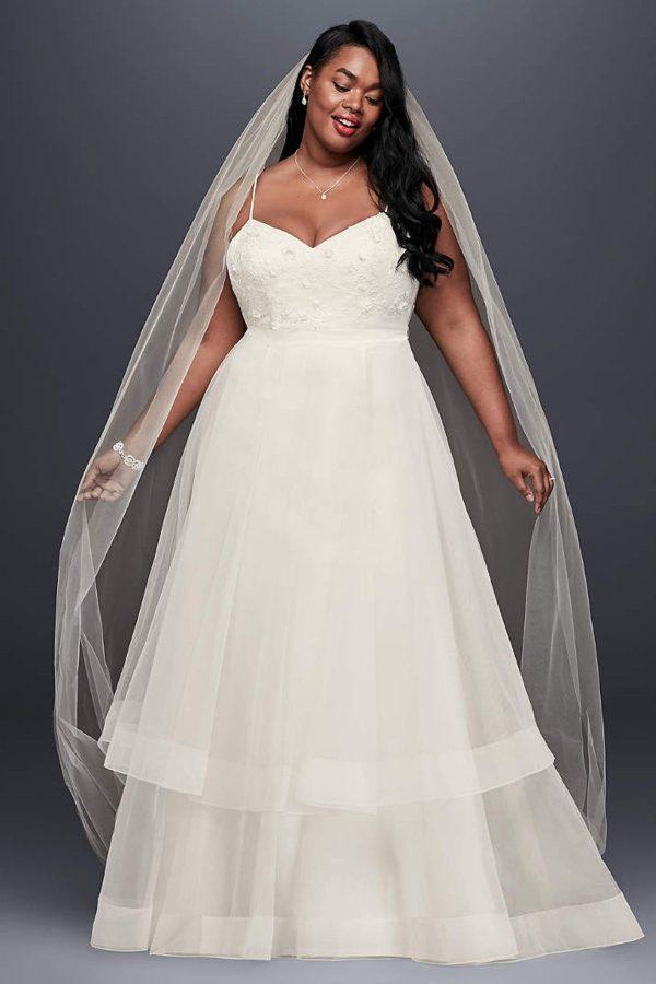 9. 3D Floral Bodice Tulle Plus Size Wedding Dress