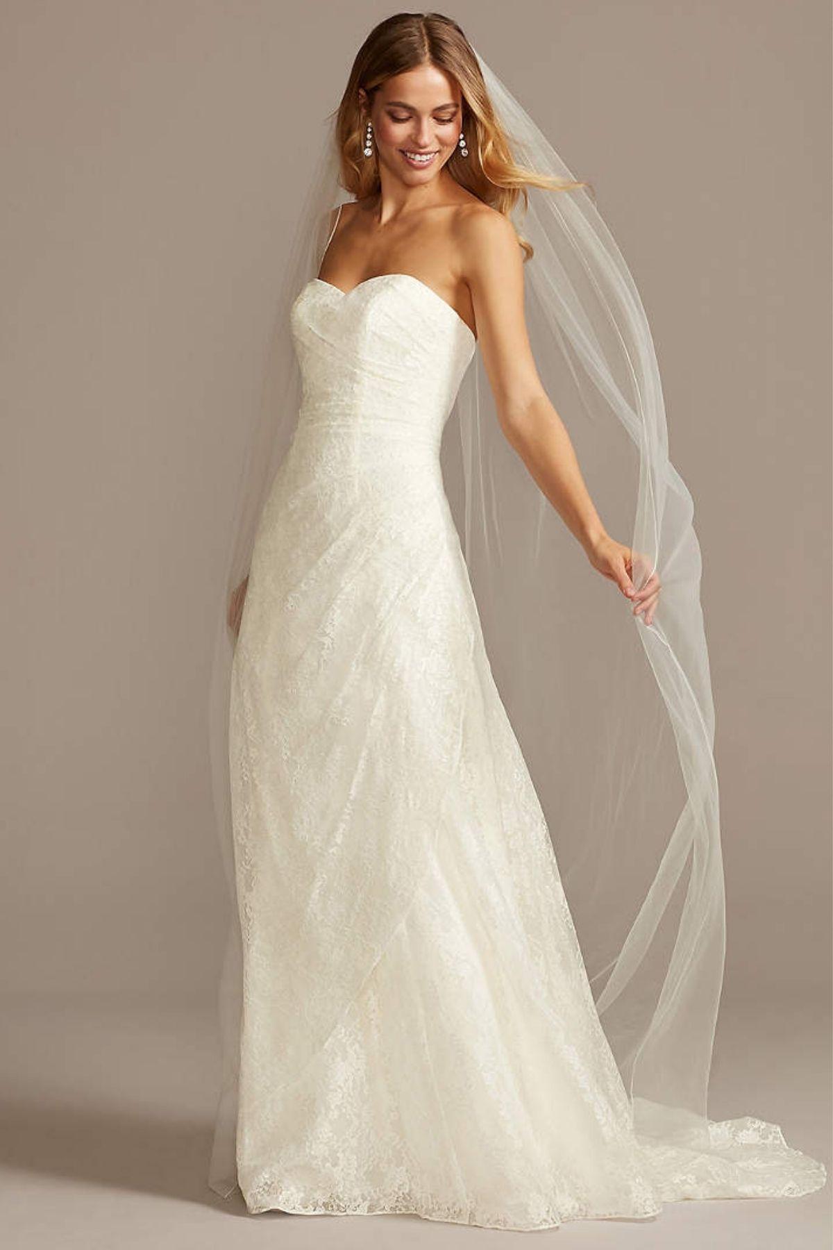 8. A-Line Strapless Sweetheart Neck Wedding Dress