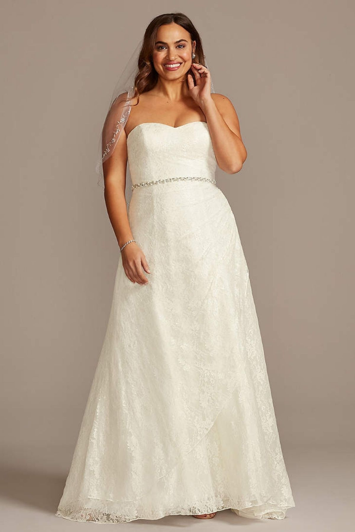 7. Allover Lace Plus Size A-Line Wedding Dress