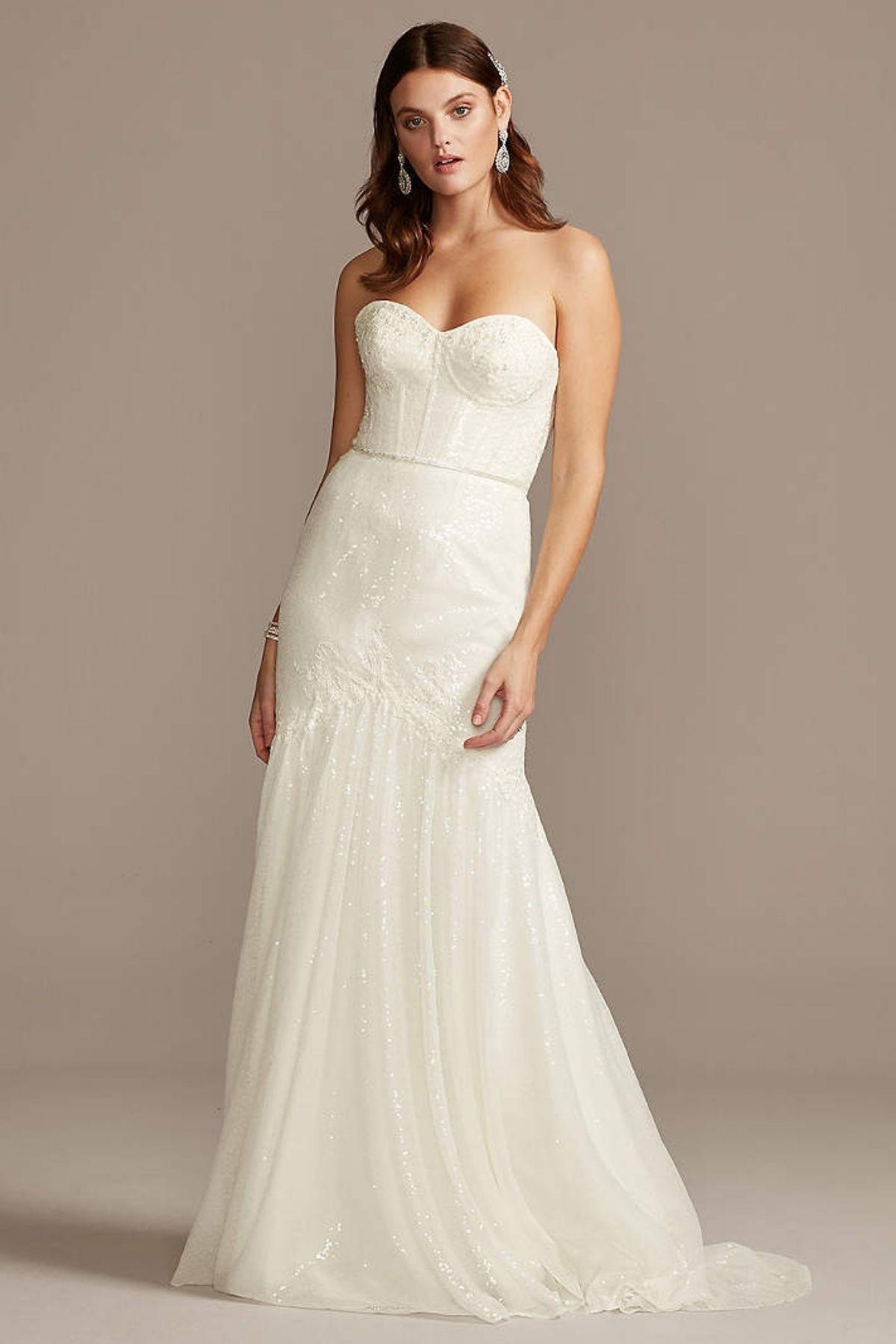 7. Allover Sequin Corset Petite Wedding Dress