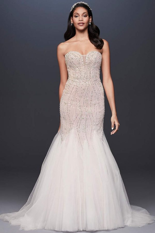 3. Beaded Tulle Sweetheart Trumpet Wedding Dress -