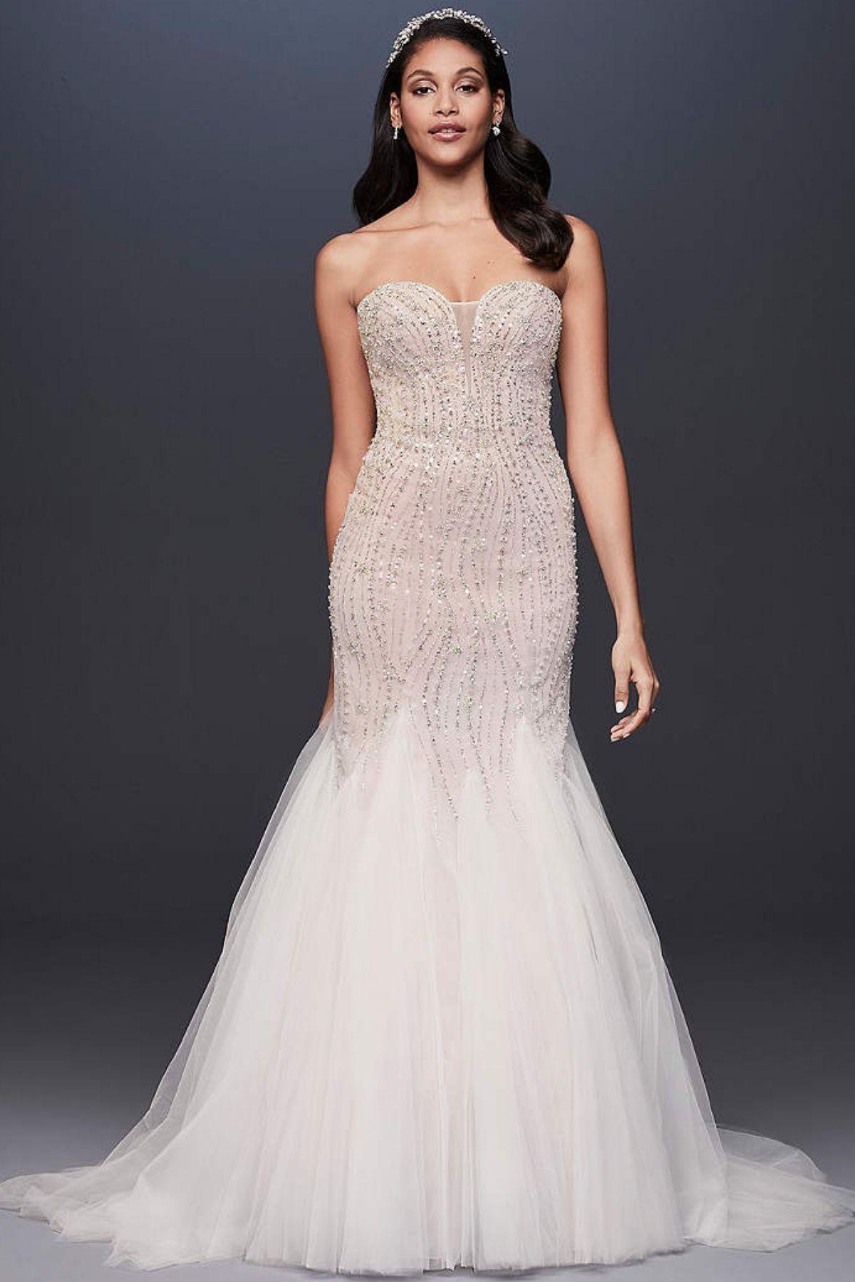 3. Beaded Tulle Sweetheart Trumpet Wedding Dress -