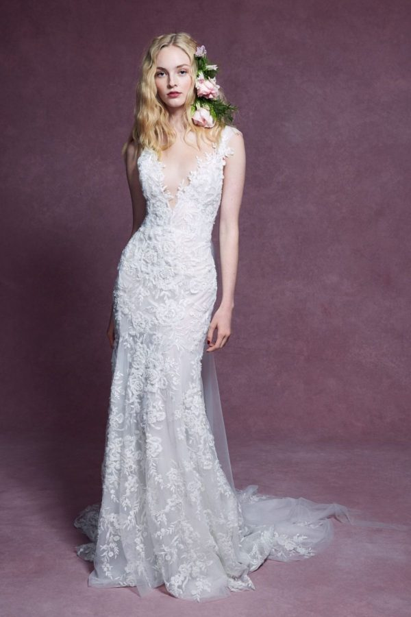 2. Marchesa // CAP SLEEVE V-NECKLINE FLORAL BEADED FIT AND FLARE WEDDING DRESS