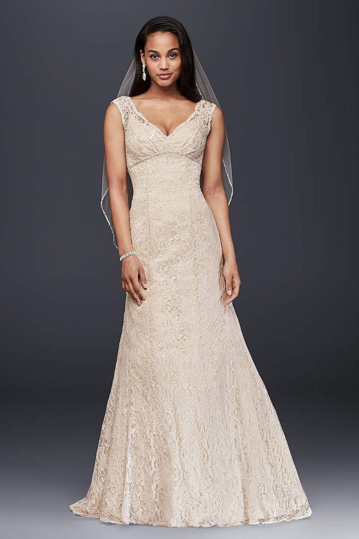 9. Cap Sleeve Lace Over Satin Wedding Dress