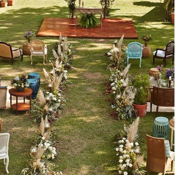 Wedding Ceremony Seating Configuration Ideas - mismatched