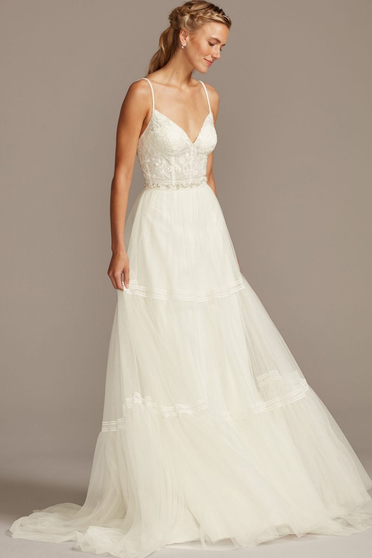 1. Corset Bodice Tiered Chiffon A-Line Wedding Dress