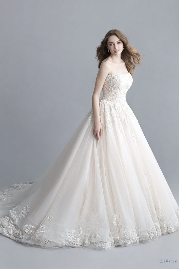 4. Disney Fairy Tale Weddings Platinum Collection // STRAPLESS SCOOP NECKLINE SPARKLE TULLE BALL GOWN WEDDING DRESS WITH FLORAL APPLIQUÉS