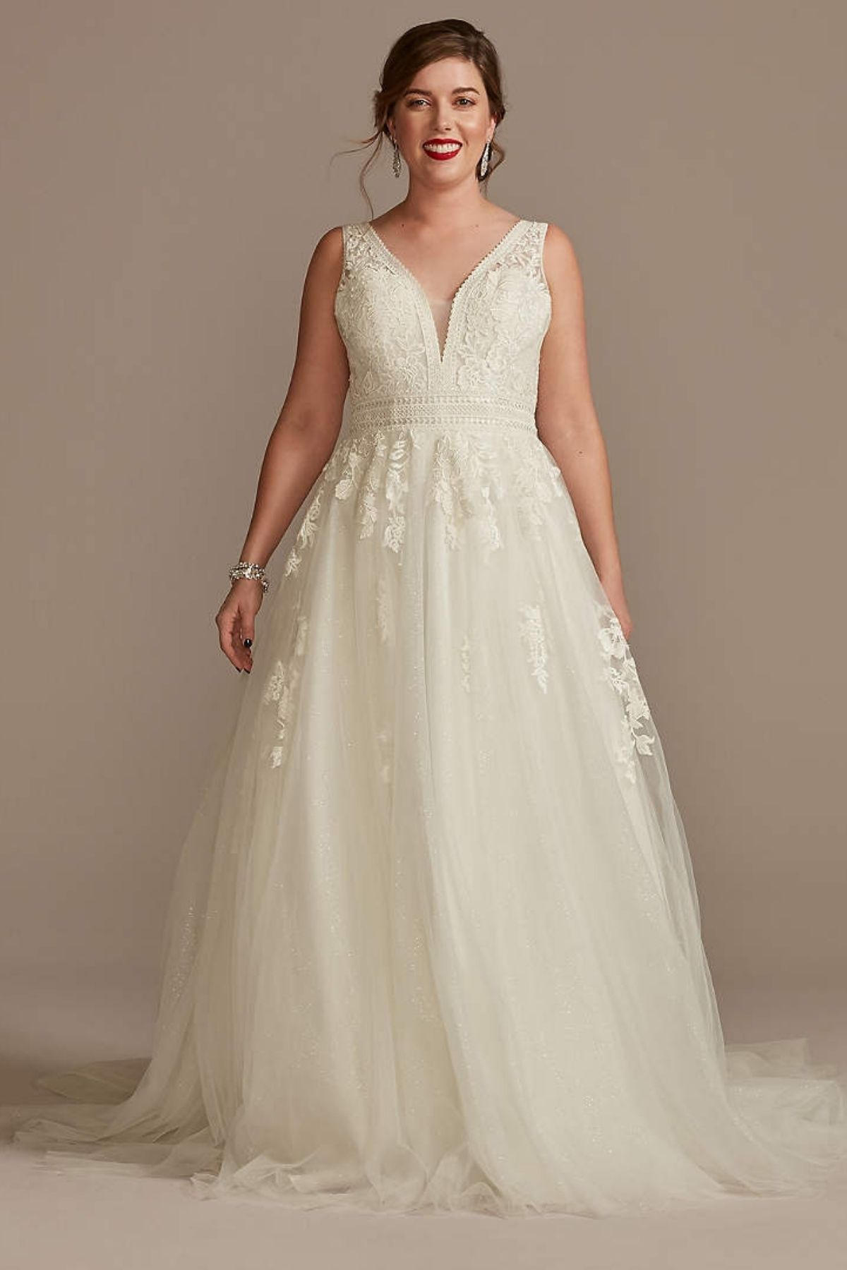 1. Embroidered V-Neck Wedding Dress with Tulle Skirt - Ballgown style bridal dresses under $800: Top 10 from David's Bridal