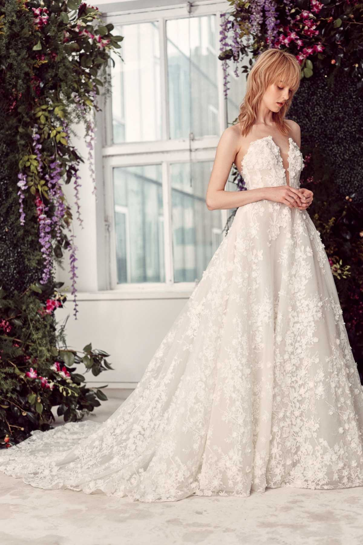 7. Rivini // FLORAL LACE EMBROIDERED STRAPLESS BALL GOWN WEDDING DRESS WITH PLUNGING V-NECKLINE