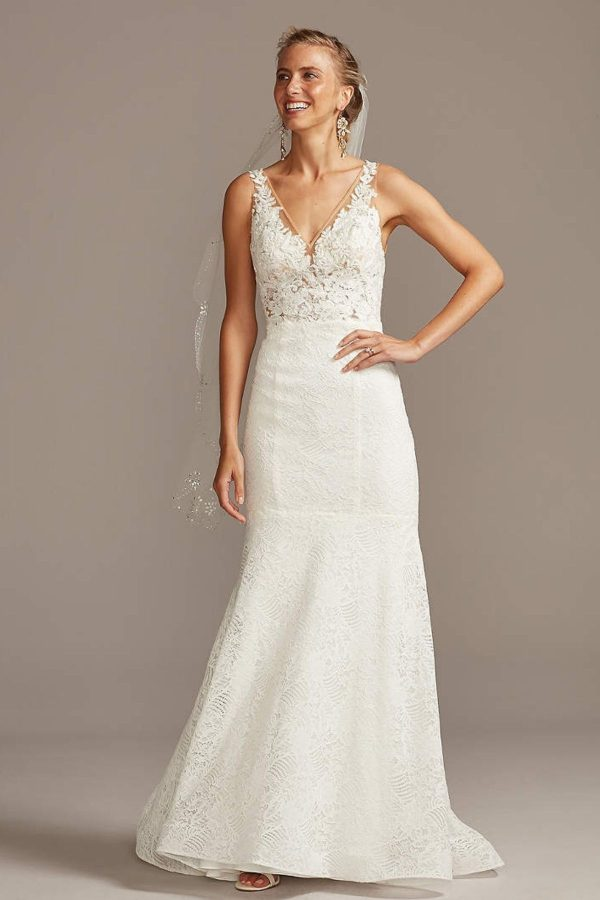 10. Floral Applique Illusion V-Back Wedding Dress - Mermaid Style Bridal Dresses under $800: Top 10 from David's Bridal