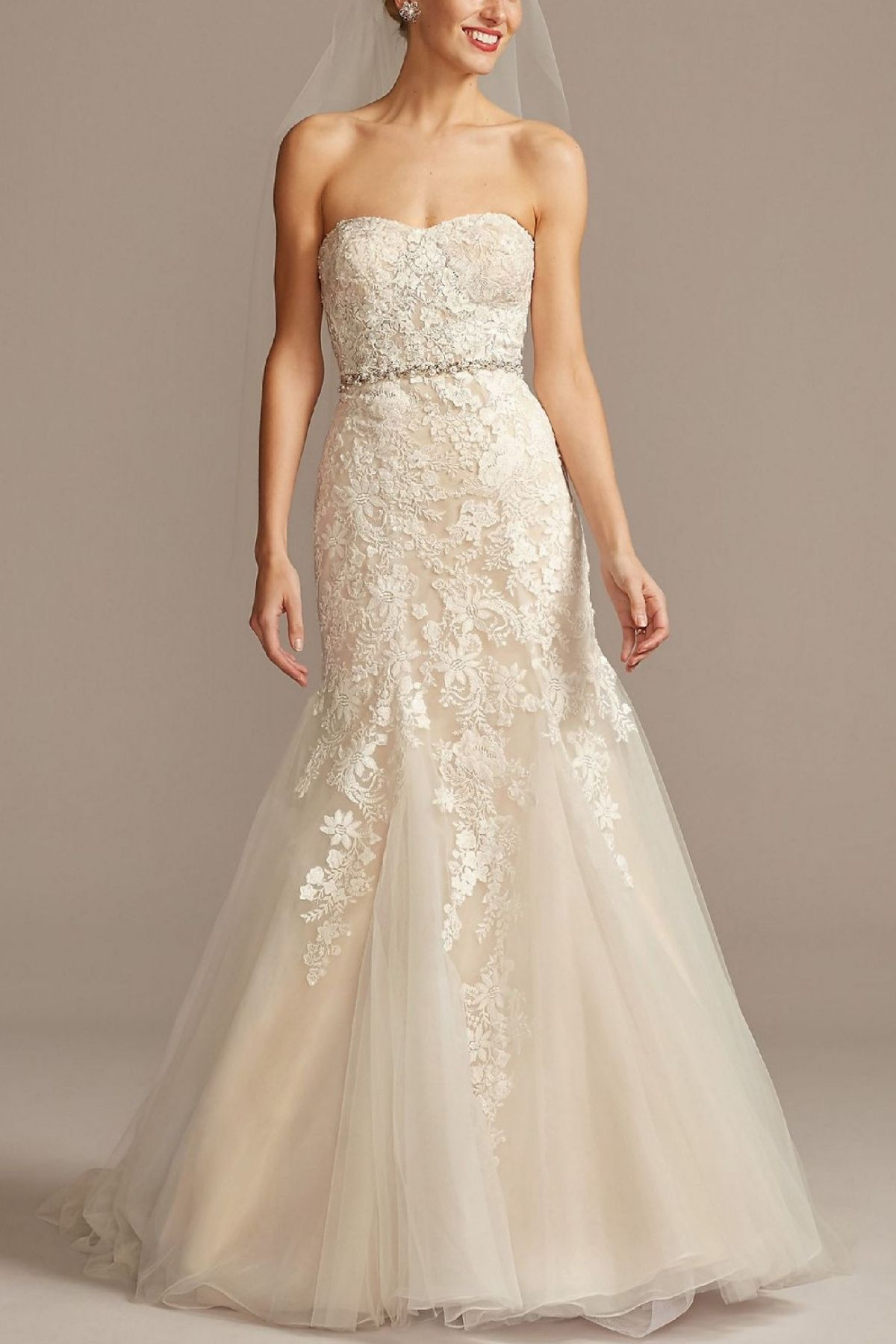 1. Floral Beaded Lace and Tulle Mermaid Wedding Dress -