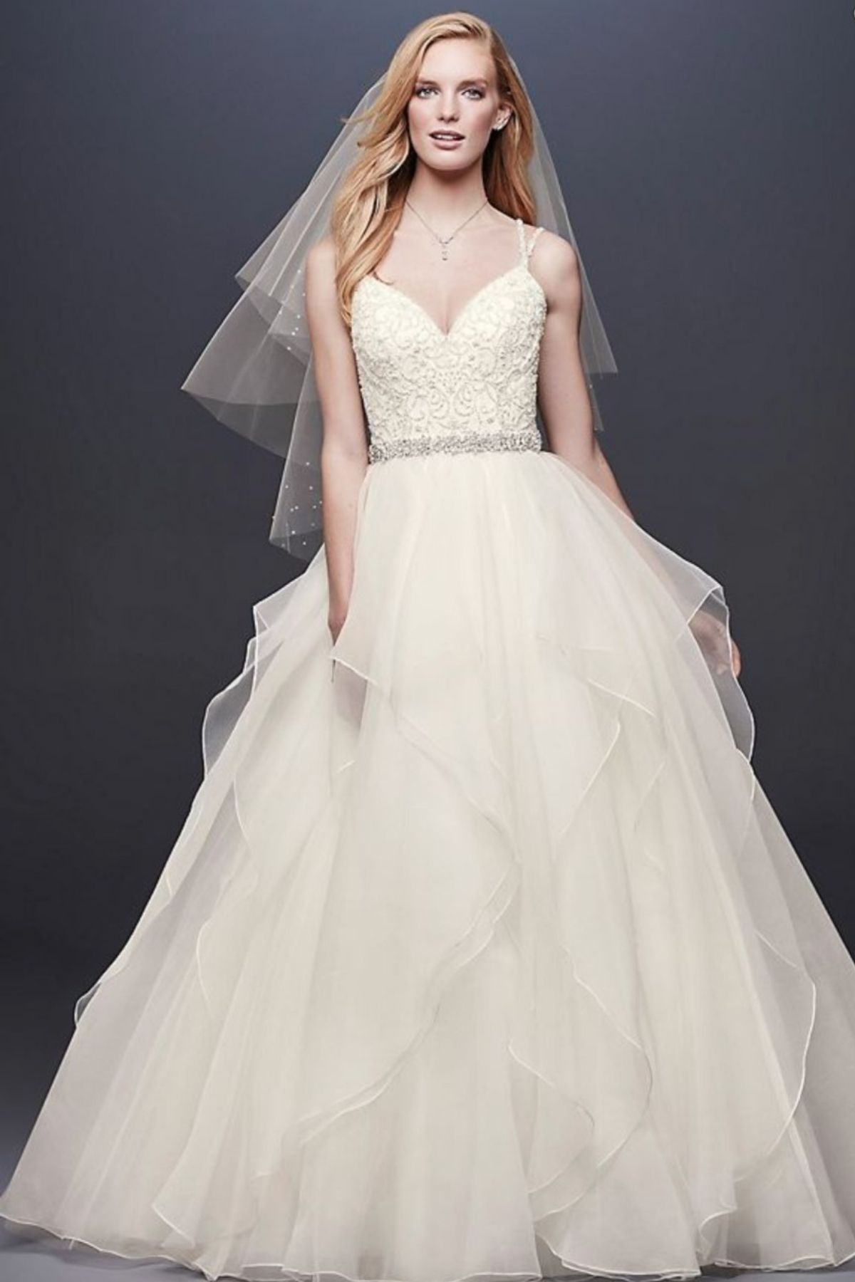 6. Garza Ball Gown Wedding Dress with Double Straps - Ballgown style bridal dresses under $800: Top 10 from David's Bridal