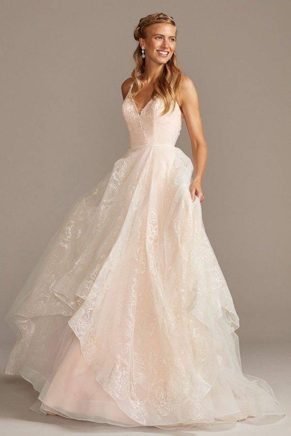 2. Glitter Floral and Tulle Layered Wedding Dress - Ballgown style bridal dresses under $800: Top 10 from David's Bridal