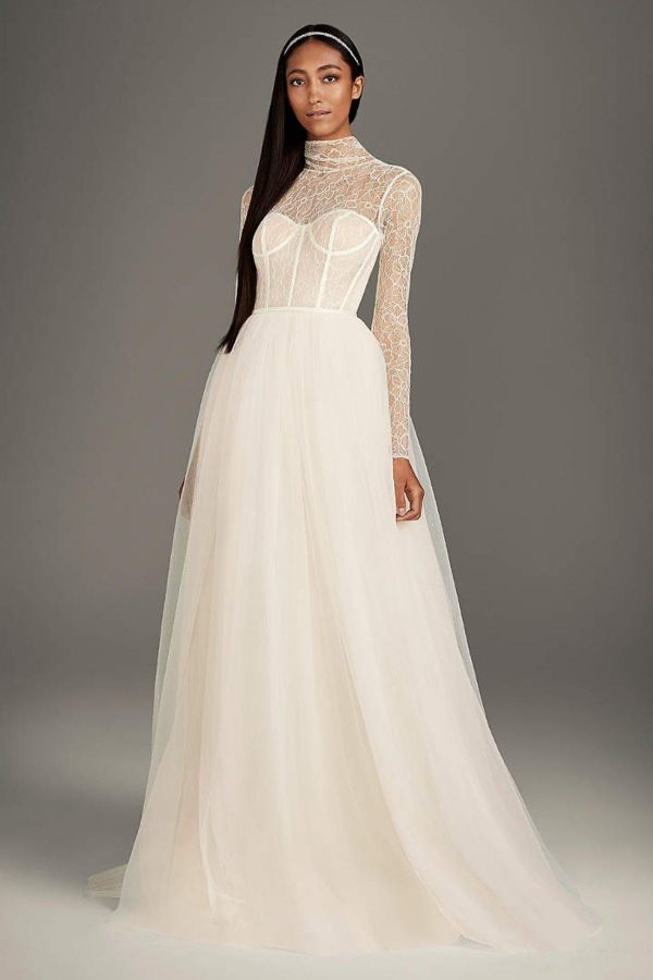 8. High-Neck Lace and Tulle Corset Wedding Dress