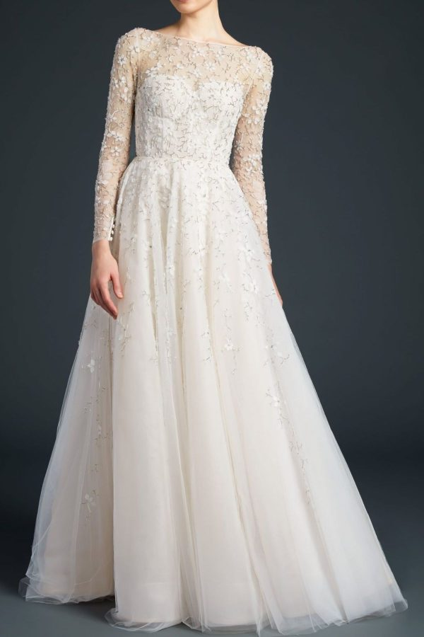 9. Anne Barge // LONG SLEEVE A-LINE EMBROIDERED WEDDING DRESS