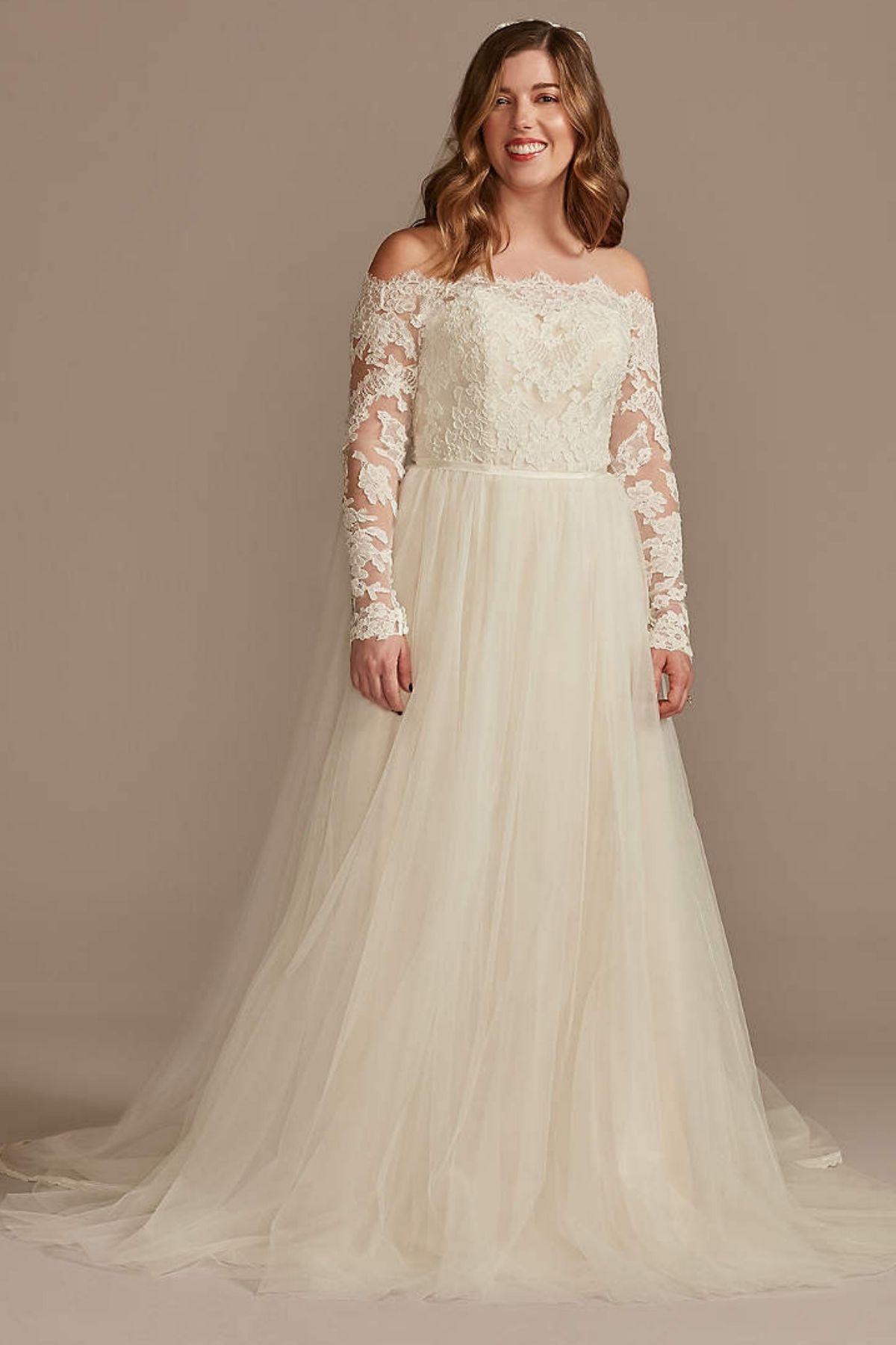 5. Lace Applique Off Shoulder Tall Wedding Dress