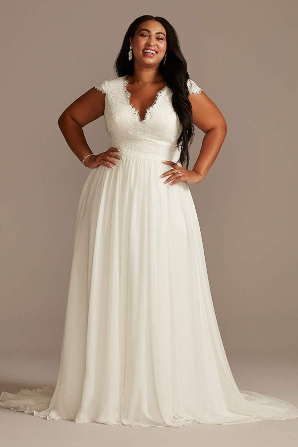 2. Lace Illusion Back Chiffon Plus Size Wedding Dress