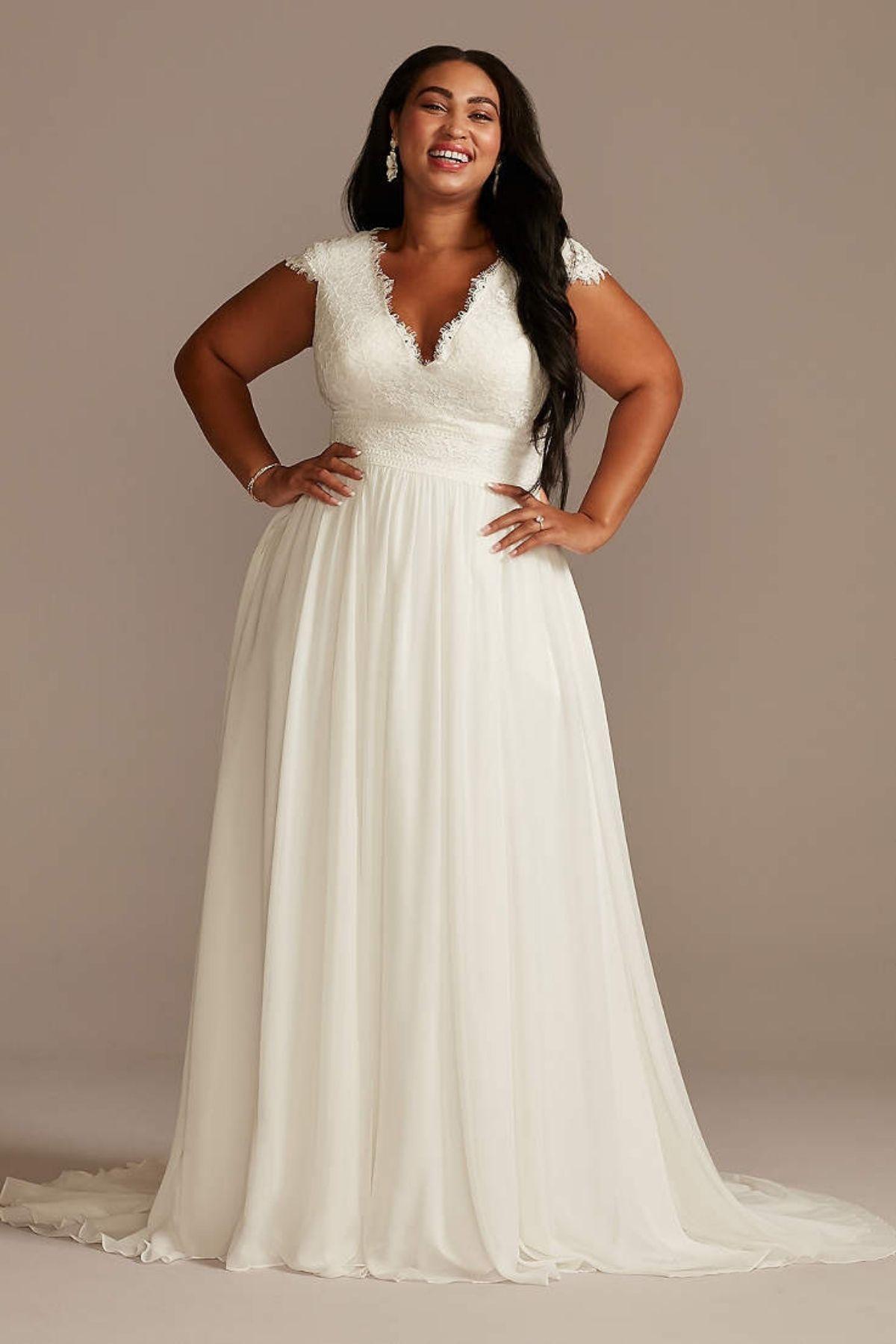 2. Lace Illusion Back Chiffon Plus Size Wedding Dress