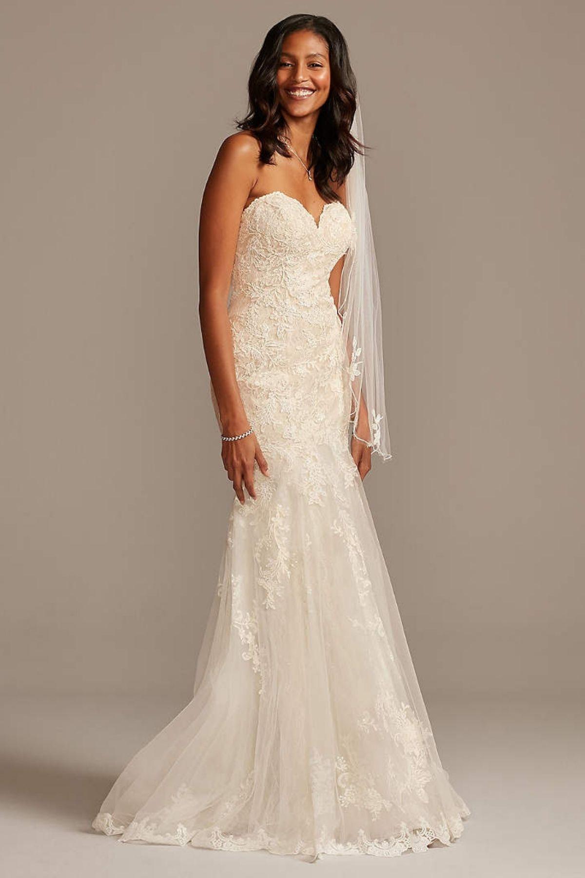 6. Layered Lace Petite Mermaid Wedding Dress -