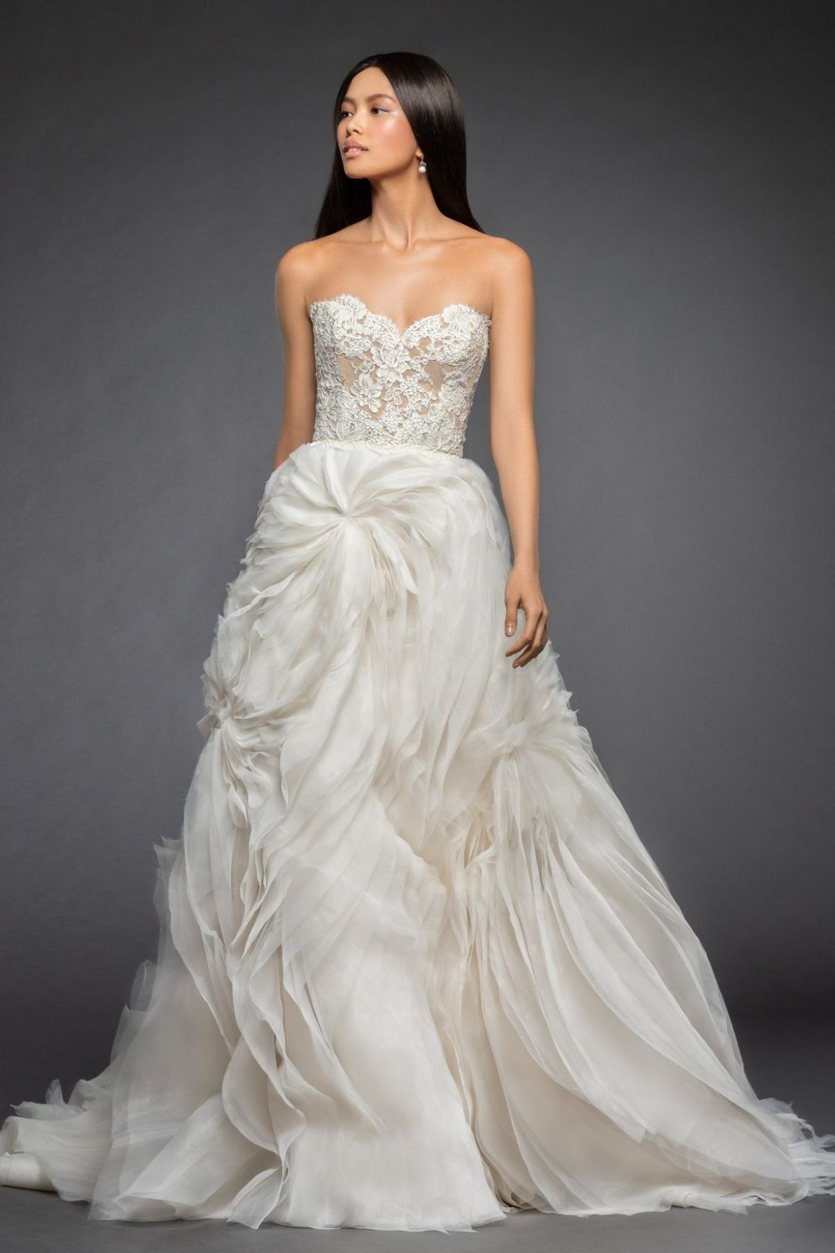 5. Lazaro Style // STRAPLESS A-LINE WEDDING DRESS WITH LACE BODICE AND TUFTED ORGANZA AND TULLE SKIRT