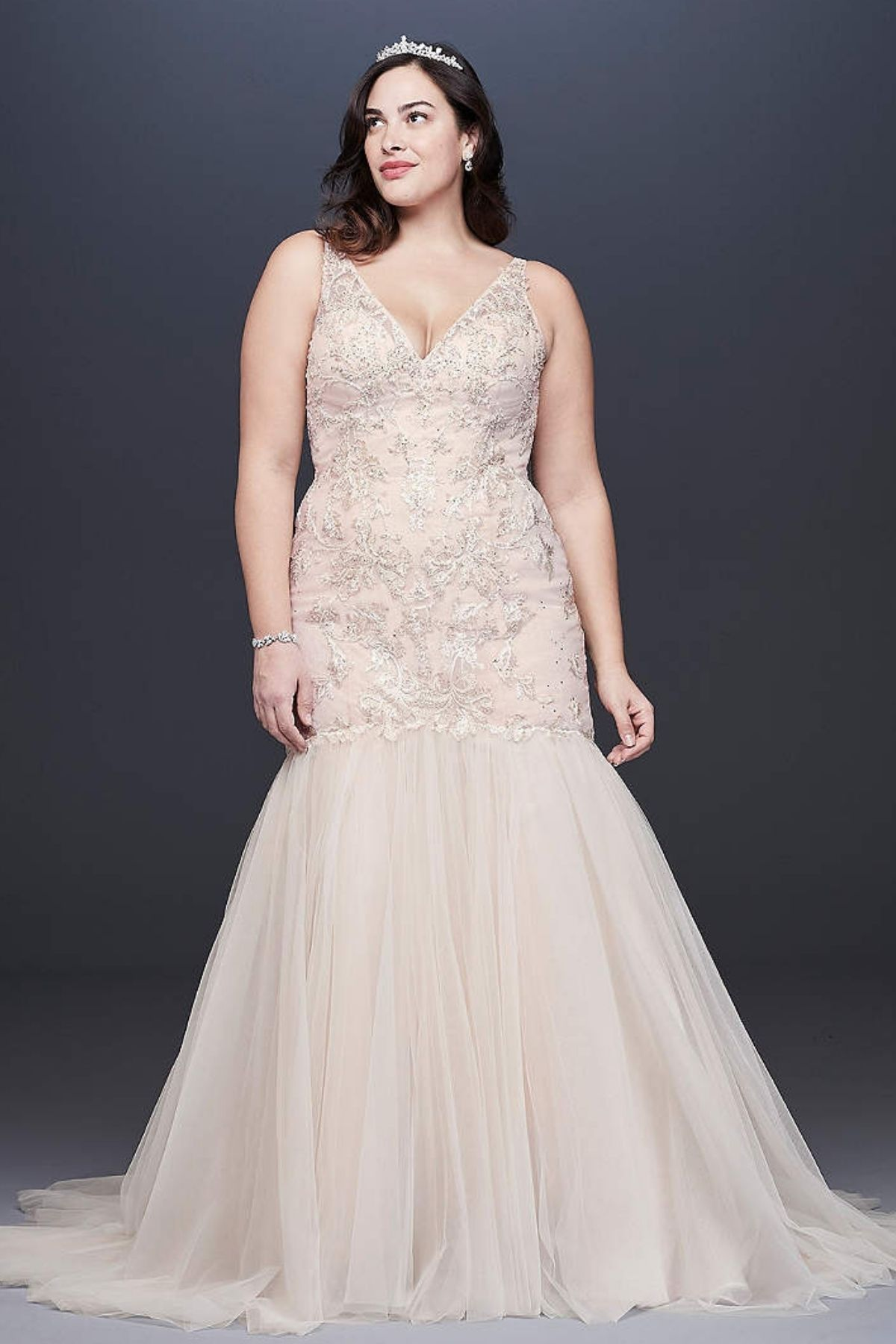 5. Mermaid Beaded Floral Lace Plus Size Wedding Dress