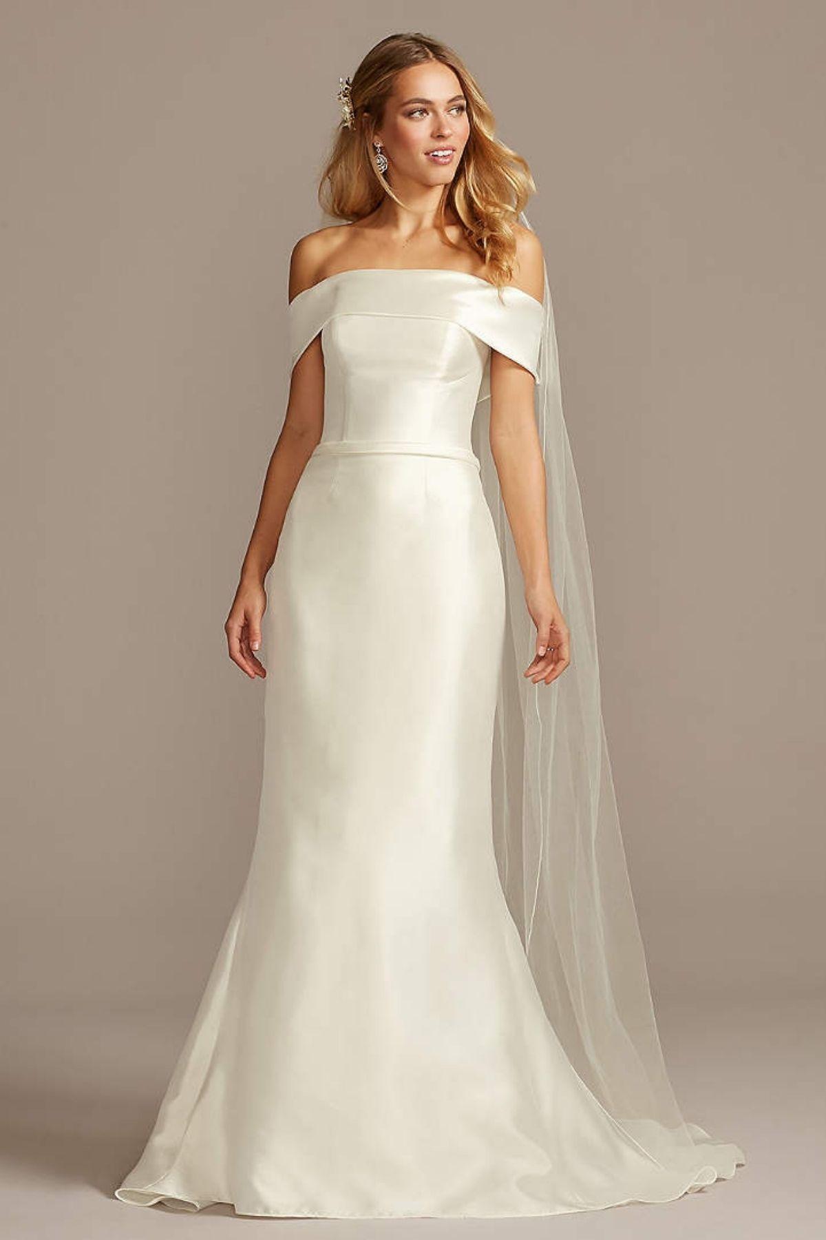 9. Mikado Off-the-Shoulder Trumpet Wedding Dress