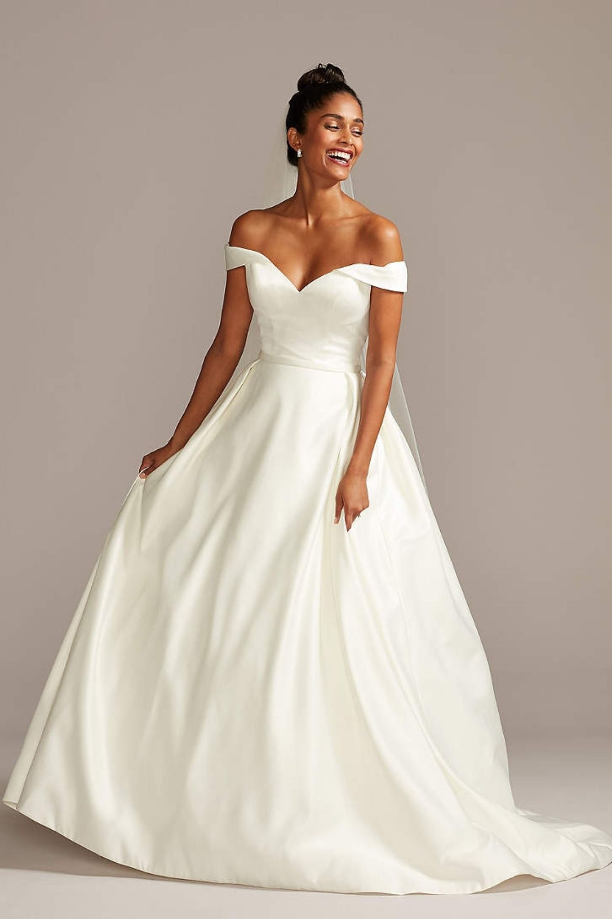3. Off the Shoulder Satin Ball Gown Wedding Dress - Ballgown style bridal dresses under $800: Top 10 from David's Bridal