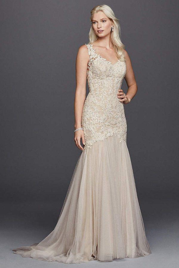 8. Petite Beaded Venice Scalloped Lace Wedding Dress