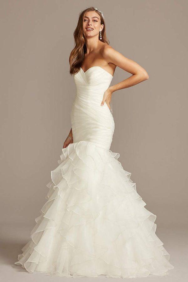 4. Petite Mermaid Wedding Dress with Ruffled Skirt -