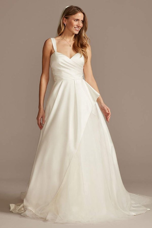 10. Pleated Satin Asymmetric Tulle Hem Wedding Dress
