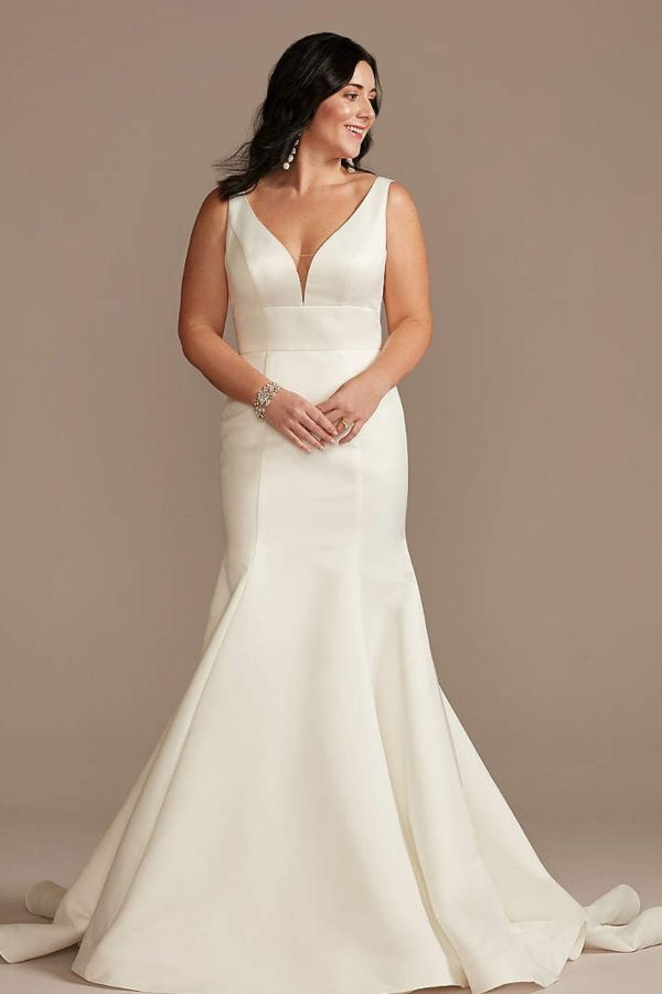 2. Plunge Mermaid Buttoned Satin Petite Wedding Dress