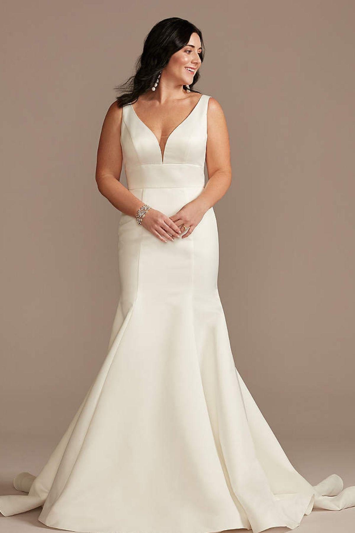 2. Plunge Mermaid Buttoned Satin Petite Wedding Dress