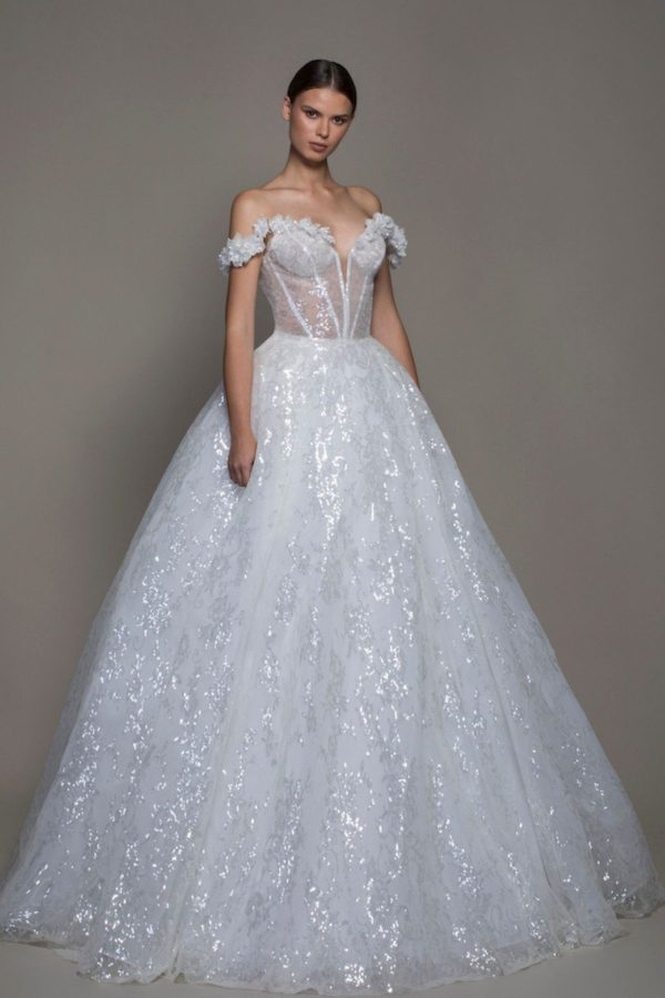 1. Pnina Tornai // OFF-THE-SHOULDER SEQUIN BALL GOWN WEDDING DRESS WITH FLOWERS AND SHEER BODICE -