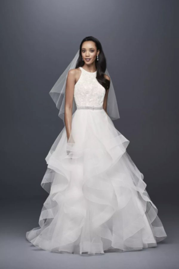10. Sequin Tulle Petite Ball Gown with Tiered Skirt