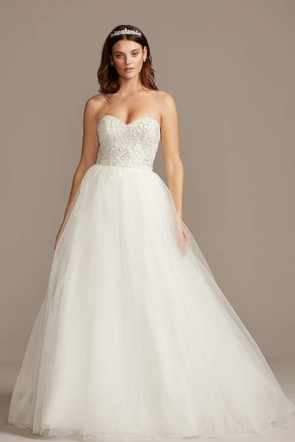 4. Strapless Crystal Floral Bodice Wedding Dress - Ballgown style bridal dresses under $800: Top 10 from David's Bridal