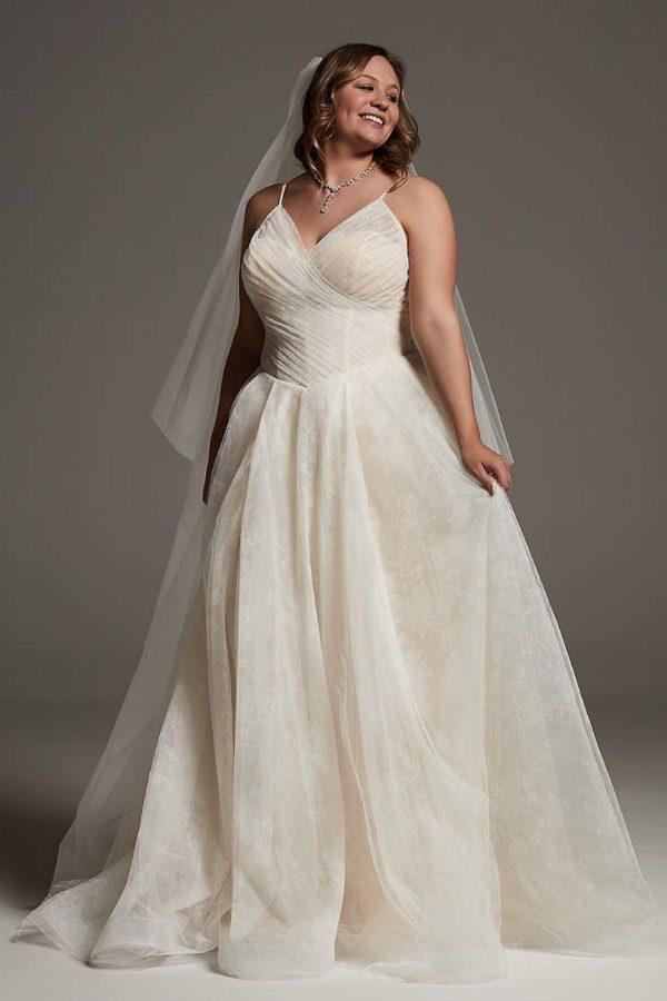 7. White by Vera Wang Rose Print Plus Wedding Dress