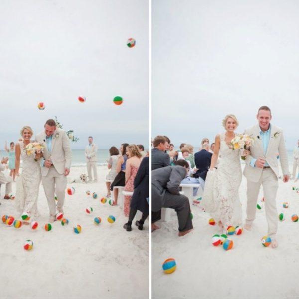 Creative and Fun Wedding Exit Send-off: beach balls